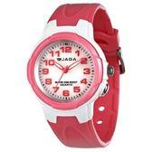 JAGA 捷卡 指針錶 白面 粉紅橡膠 33mm 女錶/學生錶 照明功能 清楚時間判讀 舒適配戴 AQ71A-DG