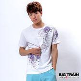 BIG TRAIN 菊柄春舞圓領T-男-白色