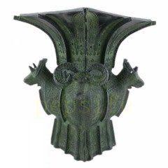 古青銅器四羊方尊工藝品 23cm高