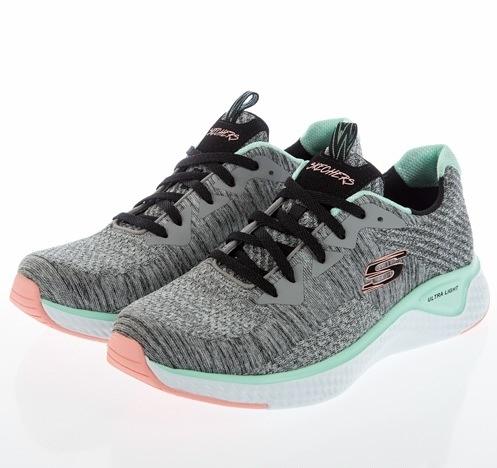 SKECHERS SOLAR FUSE 女款灰綠色運動慢跑鞋-13328WGYMT