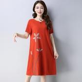 文藝復古民族風棉麻連衣裙女夏2018新款韓版遮肚子顯瘦中長款裙子