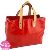 【奢華時尚】秒殺推薦!LV M91990 紅色Vernis壓紋漆皮手提小方包(八五成新)#23004