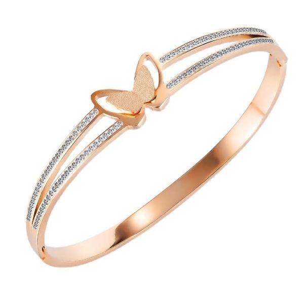 鈦鋼手環 時尚設計個性蝴蝶款鑲鑽鈦鋼流行手環