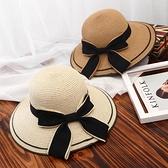 沙灘帽女 草帽子女韓版潮遮臉大沿帽夏沙灘防曬帽遮陽時尚大帽檐網紅涼帽 小衣裡