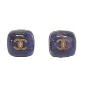 CHANEL 香奈兒 紫色毛呢x透明壓克力復古金色針式耳環 Earrings 2006 【BRAND OFF】