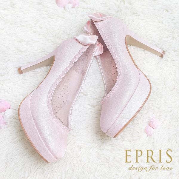 現貨 MIT小中大尺碼新娘婚鞋推薦 泡泡女神 蝴蝶結真皮腳墊高跟鞋 20.5-26 EPRIS艾佩絲-甜美粉