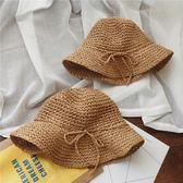 兒童草帽女童遮陽沙灘帽防曬漁夫帽子海邊手工編織親子帽【蘇迪蔓】