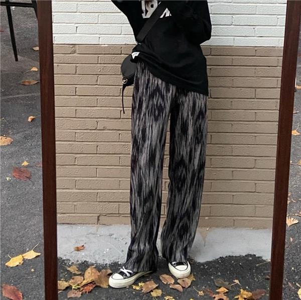 寬管褲 高腰扎染闊腿褲女2021春秋新款韓版ins超火休閒寬鬆直筒拖地長褲 伊蒂斯