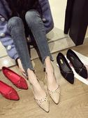 尖頭單鞋女韓版百搭淺口款平底黑色網紅淺口豆豆鞋子  魔法鞋櫃