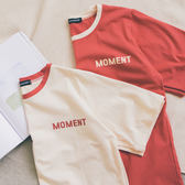 MUMU【T86016】胸口撞色小字母舒適純棉短袖T恤。兩色