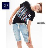 Gap男童 妙趣圖案圓領短袖T恤 305774-純正黑色