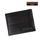 【Roberta Colum】諾貝達 男用專櫃皮夾 進口軟牛皮短夾(25005-1黑色)【威奇包仔通】