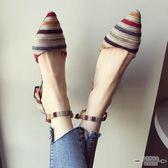 大碼低跟 扣帶淺口條紋尖頭低跟單鞋女35-41 - 古梵希鞋包