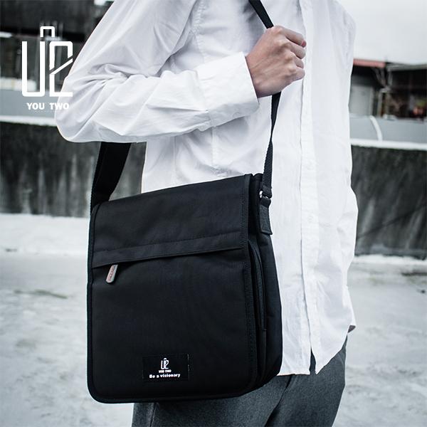 【新品促銷】素黑-防潑水側背包/斜背包/MIT/台灣製 【U2 Bags】MJ003