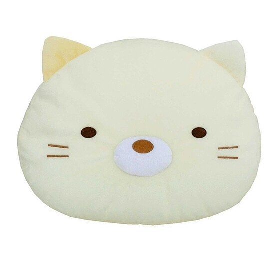 小禮堂 角落生物 貓咪 變身絨毛玩偶 絨毛娃娃 布偶  絨毛靠枕 (黃 大臉) 4549479-04073