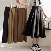 MIUSTAR 單釦壓褶鬆緊柔軟厚西裝料長裙(共3色)【NH2225】預購