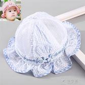 新生嬰兒帽子遮陽帽0-3個月6公主薄款可愛太陽帽男女寶寶春秋  俏女孩