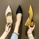 高跟鞋 秋季新款粗跟尖頭單鞋中跟百搭秋款高跟鞋夏款淺口小香風女鞋 布衣潮人