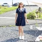 大尺碼洋裝 L-5XL 雪紡V領收腰A字裙學院風顯瘦連衣裙 #wm1216 @卡樂@