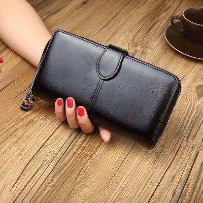 手拿包 女新款酒紅色黑色卡包工作手拿包都市百搭休閒包時尚新品手挽錢包 伊蘿精品