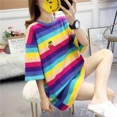 大碼女裝短袖t恤女夏寬鬆中長款時尚洋氣洋裝子網紅ins潮上衣服 米娜小鋪