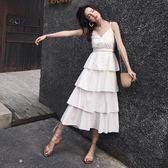 棉麻美背吊帶長裙夏女顯瘦新款外穿蛋糕裙夏季韓版露背洋裝      芊惠衣屋