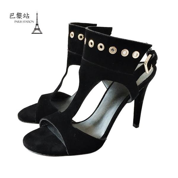 【巴黎站二手名牌專賣店】*全新現貨*Stuart Weitzman 真品*金屬圓孔飾黑色麂皮高跟鞋(36.5號)