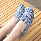 休閒鞋.MIT小香風格紋拼接平底懶人鞋....