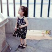 女童連身裙無袖吊帶碎花裙