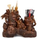 創意筆筒擺件書房課桌文具收納盒中式金蟾裝飾物筆架貔貅辦公用品 極客玩家