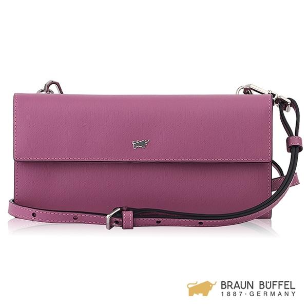 【BRAUN BUFFEL】美莉莎-III系列14卡兩折長夾斜背包 - 粉紫 BF651-720-BO