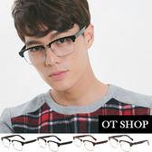 OT SHOP眼鏡框‧中性文青方形半框眉框粗鏡腳鏡框平光眼鏡‧亮黑/霧黑/茶色/迷彩現貨‧J30