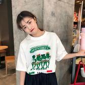 VK  服飾韓國學院風印花青蛙T 恤寬鬆圓領短袖上衣