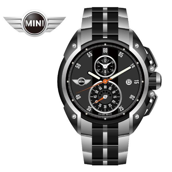 [萬年鐘錶】MINI Swiss Watches英國風格 暗夜灰面黑條二眼三點日期窗 銀黑雙色鋼鍊帶錶  45mm MINI-09