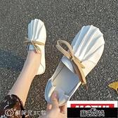 豆豆鞋 單鞋女春百搭森女系復古包頭豆豆鞋子學生休閒平底懶人鞋KLBH57468【全館免運】