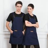 帆布牛仔韓版時尚工作服圍裙女定制logo印字奶茶咖啡花店烘焙美甲