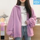 【V3034】shiny藍格子-原宿風‧純色寬鬆大口袋內絨連帽長袖外套