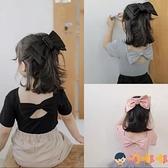 女童短袖T恤寶寶打底衫童裝兒童蝴蝶結上衣夏季【淘嘟嘟】