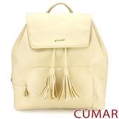 【CUMAR女包】時光旅人流蘇水桶後背包-米色