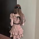 方領洋裝 夏季新款氣質女神范收腰顯瘦桔梗裙女設計感泡泡袖蕾絲拼接連身裙 晶彩 99免運