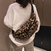 胸包女毛毛側背包挎包個性豹紋印花腰包ins超火運動包潮  蘑菇街小屋