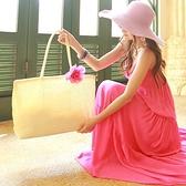 草編包 手提沙灘包-可肩背輕便純色紙草編織包(顏色隨機)73pp469【時尚巴黎】