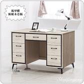 【水晶晶家具/傢俱首選】YS9621-8愛得麗4尺鋼刷白橡七抽低甲醛木芯板辦公桌
