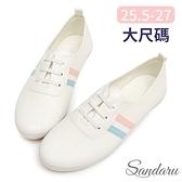 大尺碼鞋 小白鞋 軟皮革側配色鬆緊鞋帶休閒鞋-粉