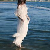 【新年鉅惠】奈良白色海南三亞沙灘裙女夏新款雪紡海邊度假連身裙超仙長裙