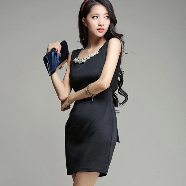 美之札[6672-S]釘珠領口顯瘦後背拼接雪紡嫵媚性感 洋裝~美之札