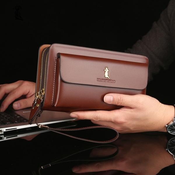 雙拉鏈錢包男包長款錢包 商務簡約多卡位手機包 男士長款錢夾皮夾 男士長款錢包 歐美男生長夾