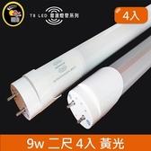 HONEY COMB LED T8-2尺9w 黃光雷達感應燈管 4入
