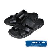【PEGADA】巴西名品時尚真皮紳士涼拖鞋  黑色(131263-BL)