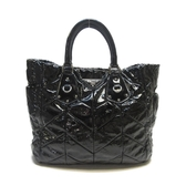 PRADA 普拉達 黑色漆皮手提肩背兩用包 Chevron Quilted Tote Bag【BRAND OFF】